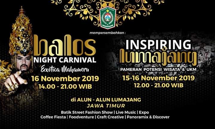 INSPIRING LUMAJANG  PAMERAN POTENSI WISATA DAN UKM 15-16 NOVEMBER 2019 PUKUL 12.00-21.00 WIB